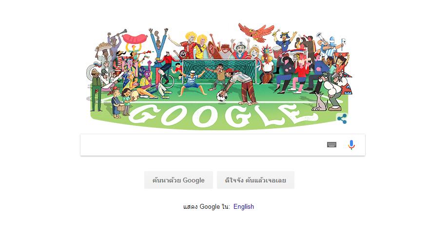 Google Doodle เฉลิมฉลองการเริ่มต้นฟุตบอลโลก 2018