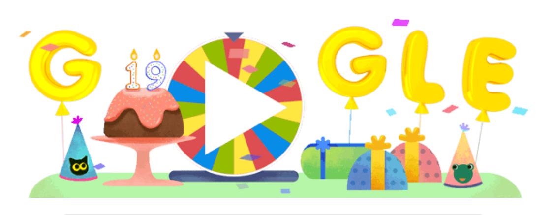 Google Doodle วันนี้ : ฉลองวันเกิดปีที่ 19 ของ Google กับวงล้อเสี่ยงทาย