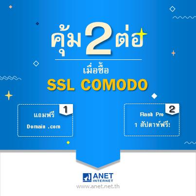 ANET จัดโปรโมชันให้ 2 ต่อเมื่อซื้อ SSL Comodo แถมฟรี Domain .com และ Flash Pro 1 สัปดาห์