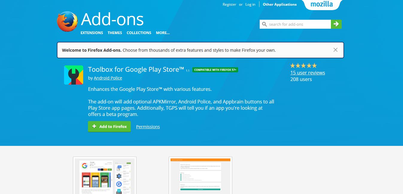 Toolbox ของ Google Play Store พร้อมใช้งานได้แล้วสำหรับ Firefox