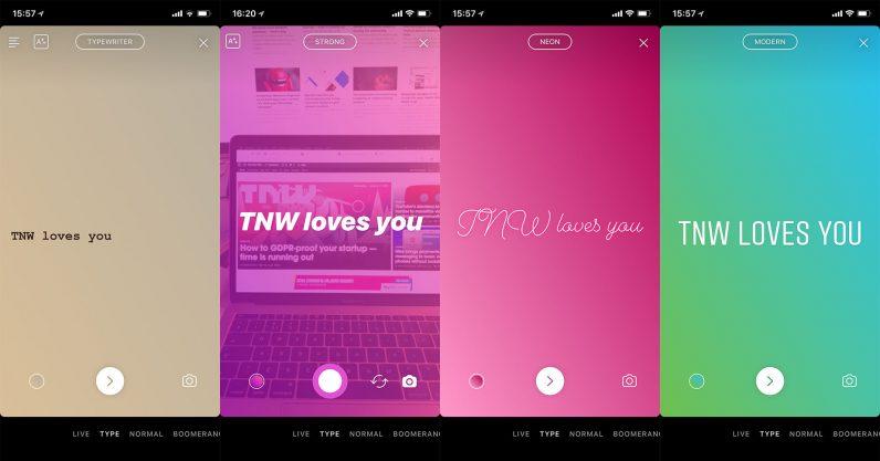 Instagram ทดสอบฟีเจอร์ Type เลือกแบบข้อความได้ สำหรับ Stories